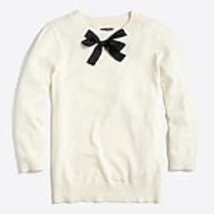 White jcrew factory sweater with bow